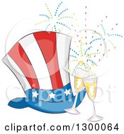 Clipart Of A Patriotic American Top Hat With Champagne Glasses And Fireworks Royalty Free Vector Illustration by BNP Design Studio