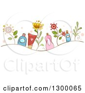 Clipart Of A Sketched Wave Of Flowers And Organic Cosmetic Products Royalty Free Vector Illustration