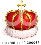 Clipart Of A Sketched Red And Gold Crown With A Cross And Fur Royalty Free Vector Illustration