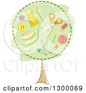 Clipart Of A Tree With Sewing Materials In The Canopy Royalty Free Vector Illustration