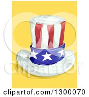 Clipart Of A Sketched American Top Hat On Yellow Royalty Free Vector Illustration by BNP Design Studio