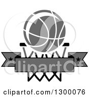 Clipart Of A Grayscale Basketball Over A Hoop And Blank Banner Royalty Free Vector Illustration