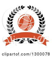 Clipart Of An Orange Basketball In A Black Wreath With A Blank Banner Royalty Free Vector Illustration
