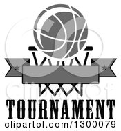 Clipart Of A Grayscale Basketball Over A Hoop And Blank Banner Over Text Royalty Free Vector Illustration