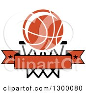 Clipart Of An Orange Basketball Over A Hoop And Blank Banner Royalty Free Vector Illustration