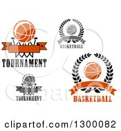 Clipart Of Basketball Wreath And Hoop Designs Royalty Free Vector Illustration