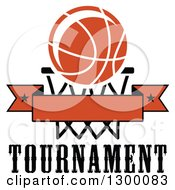 Clipart Of An Orange Basketball Over A Hoop And Blank Banner Over Text Royalty Free Vector Illustration