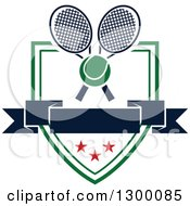 Clipart Of A Tennis Ball Over Crossed Rackets A Blank Banner And Shield Royalty Free Vector Illustration