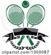 Clipart Of A Tennis Ball Over Crossed Rackets A Blank Banner And Branches Royalty Free Vector Illustration