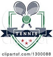 Clipart Of A Tennis Ball Over Crossed Rackets A Banner And Shield Royalty Free Vector Illustration