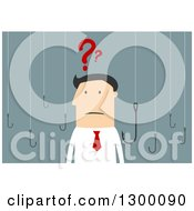 Clipart Of A Flat Modern White Businessman Confused And Surrounded By Hooks Over Blue Royalty Free Vector Illustration