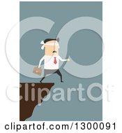 Clipart Of A Flat Modern White Businessman Blindfolded And Walking Off Of A Cliff Over Blue Royalty Free Vector Illustration