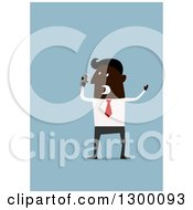 Clipart Of A Flat Modern Black Businessman Screaming Into A Cell Phone Over Blue Royalty Free Vector Illustration