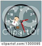 Clipart Of A Flat Modern White Businessman Running On A Clock Face Over Blue Royalty Free Vector Illustration by Vector Tradition SM