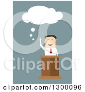 Clipart Of A Flat Modern White Businessman Talking At A Podium Over Blue Royalty Free Vector Illustration by Vector Tradition SM