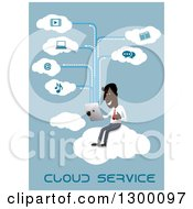 Clipart Of A Flat Modern Black Businessman Cloud Computing Over Blue Royalty Free Vector Illustration by Vector Tradition SM