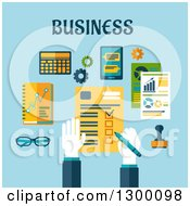 Clipart Of A Flat Design Of A Businessman Completing A Check List Over Blue With Text Royalty Free Vector Illustration