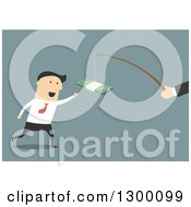 Clipart Of A Flat Modern White Businessman Chasing Money On A Stick Over Blue Royalty Free Vector Illustration