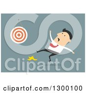 Clipart Of A Flat Modern White Businessman Slipping On A Banana Peel On His Way To A Dart Board Over Blue Royalty Free Vector Illustration