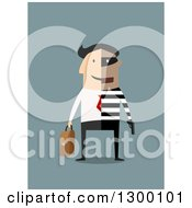 Flat Modern White Businessman Robber Shown Half And Half Over Blue