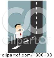 Clipart Of A Flat Modern White Businessman Stuck At A Road That Goes Up Over Blue Royalty Free Vector Illustration