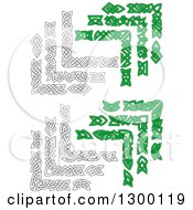 Clipart Of Black And White And Green Celtic Corner Borders Royalty Free Vector Illustration