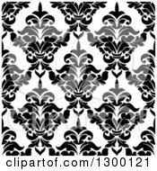 Clipart Of A Seamless Pattern Background Of Damask In Black On White 5 Royalty Free Vector Illustration by Vector Tradition SM