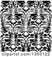 Clipart Of A Seamless Pattern Background Of Damask In Black On White 6 Royalty Free Vector Illustration by Vector Tradition SM