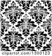 Clipart Of A Seamless Pattern Background Of Damask In Black On White 3 Royalty Free Vector Illustration by Vector Tradition SM