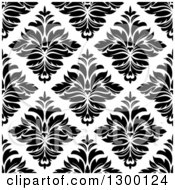 Clipart Of A Seamless Pattern Background Of Damask In Black On White 4 Royalty Free Vector Illustration by Vector Tradition SM