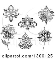 Clipart Of Black And White Henna And Lotus Flowers 3 Royalty Free Vector Illustration