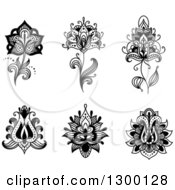 Clipart Of Black And White Henna And Lotus Flowers 2 Royalty Free Vector Illustration