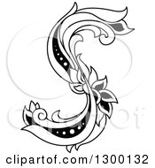 Clipart Of A Black And White Vintage Lowercase Floral Letter S Royalty Free Vector Illustration