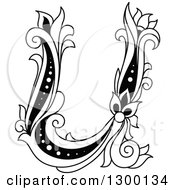Clipart Of A Black And White Vintage Lowercase Floral Letter U Royalty Free Vector Illustration