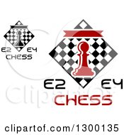 Clipart Of E2 And E4 Chess Tournament Designs With A Pawn Over Checkers Royalty Free Vector Illustration