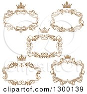 Vintage Brown Swirl Floral Wedding Frames With Crowns