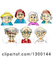 Clipart Of Avatars Of White Senior Men And Women Royalty Free Vector Illustration