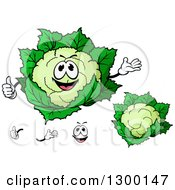 Clipart Of A Cartoon Face Hands And Cauliflowers Royalty Free Vector Illustration