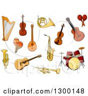 Clipart Of A Harp Guitar Violin Drums Trumpet Sax Maracas Trombone And French Horn Royalty Free Vector Illustration