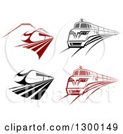 Clipart Of Black And White And Red Fast Trains Royalty Free Vector Illustration
