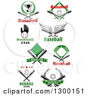 Clipart Of Baseball Designs And Text Royalty Free Vector Illustration