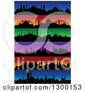 Clipart Of Silhouetted Mosques And Colorful Sunset Skylines Royalty Free Vector Illustration by Seamartini Graphics