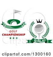 Clipart Of Golf Course And Ball Designs Royalty Free Vector Illustration