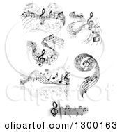 Clipart Of Grayscale Flowing Music Note Wave Designs 6 Royalty Free Vector Illustration