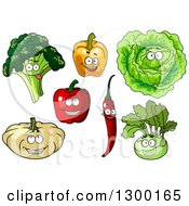 Clipart Of Happy Broccoli Bell Pepper Cabbage Chili Pumpkin And Kohlrabi Characters Royalty Free Vector Illustration