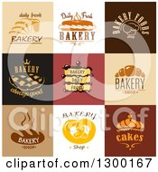 Clipart Of Bakery Food And Text Designs Royalty Free Vector Illustration