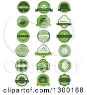 Clipart Of Green Natural Quality Product Labels Royalty Free Vector Illustration