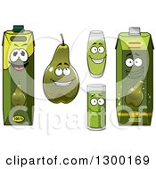 Clipart Of A Green Pear And Juice Royalty Free Vector Illustration