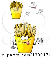 Clipart Of A Cartoon Face Hands And French Fries Royalty Free Vector Illustration by Vector Tradition SM