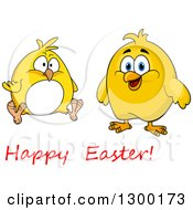 Clipart Of Yellow Chicks With Happy Easter Text Royalty Free Vector Illustration